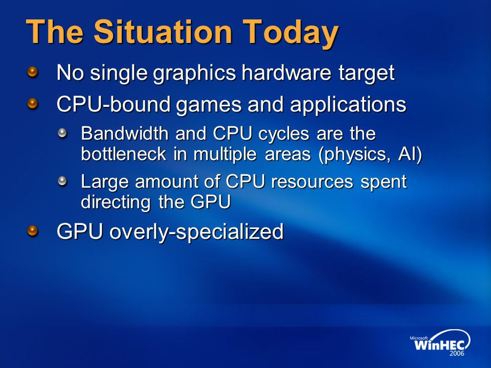 The Situation Today No single graphics hardware target