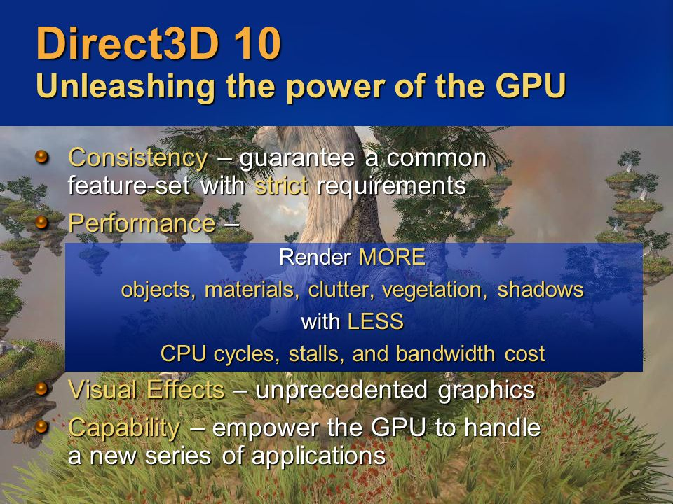 Direct3D 10 Unleashing the power of the GPU