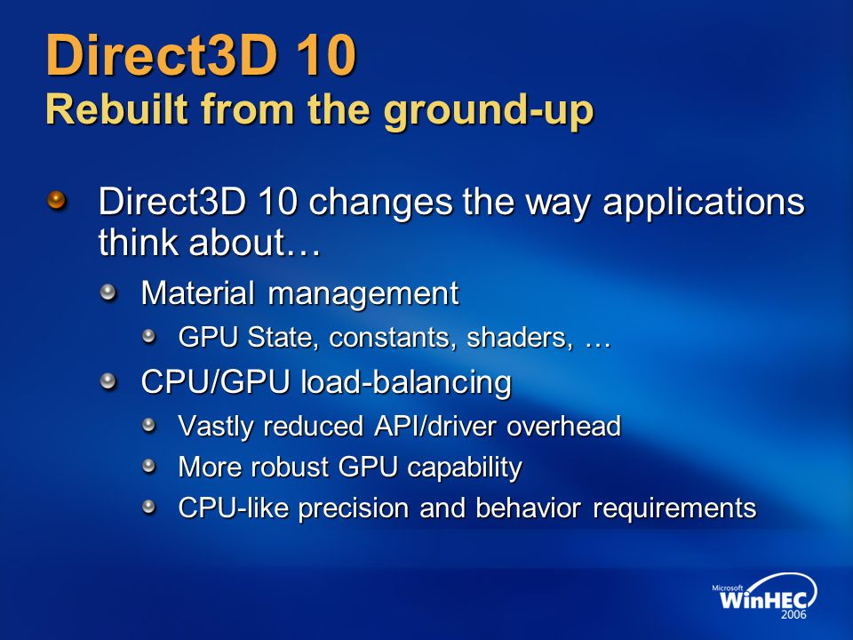Direct3D 10 Rebuilt from the ground-up