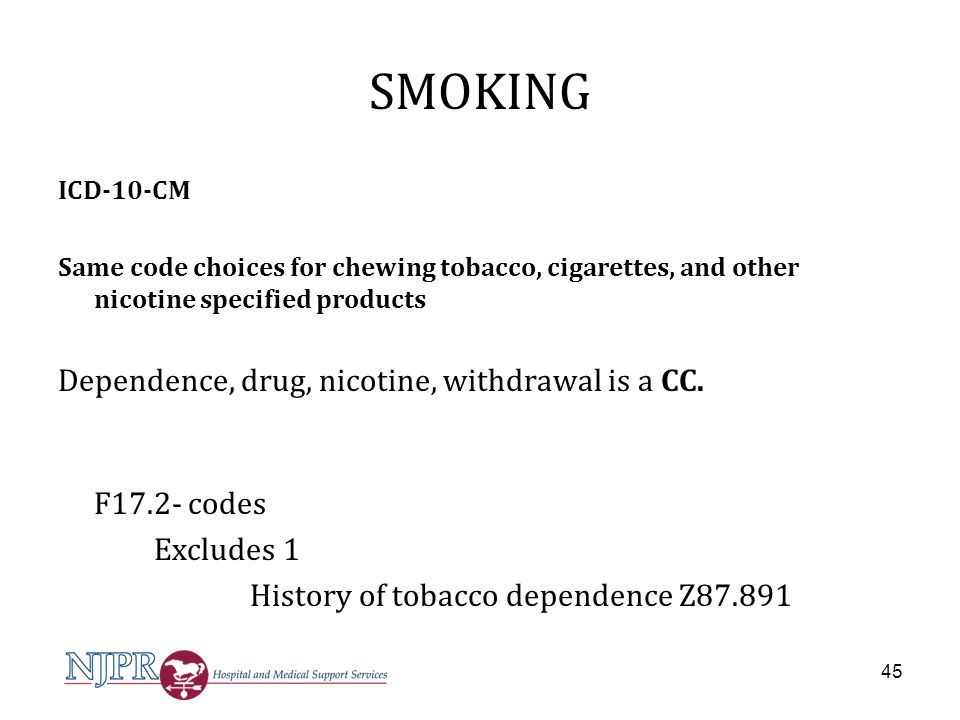 SMOKING Dependence, drug, nicotine, withdrawal is a CC. F17.2- codes