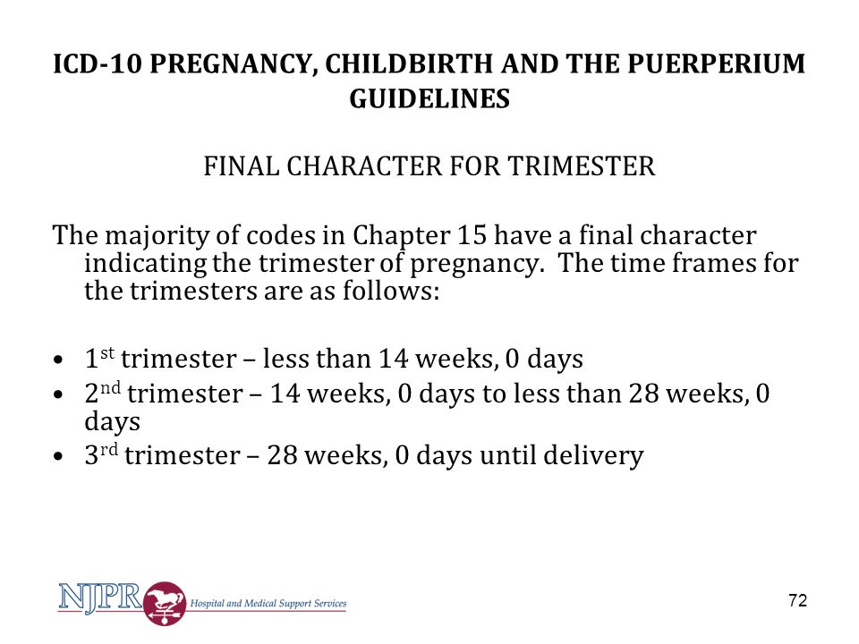 ICD-10 PREGNANCY, CHILDBIRTH AND THE PUERPERIUM GUIDELINES