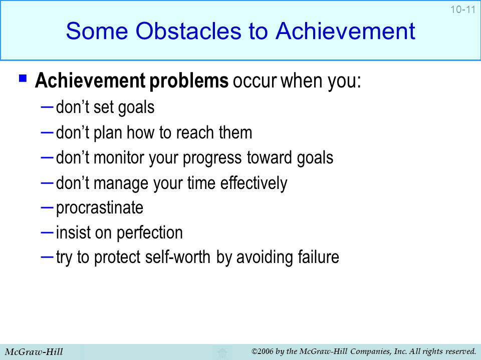 Some Obstacles to Achievement