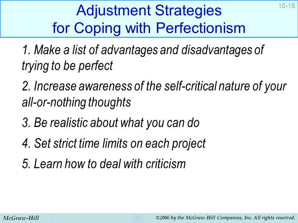 Adjustment Strategies for Coping with Perfectionism
