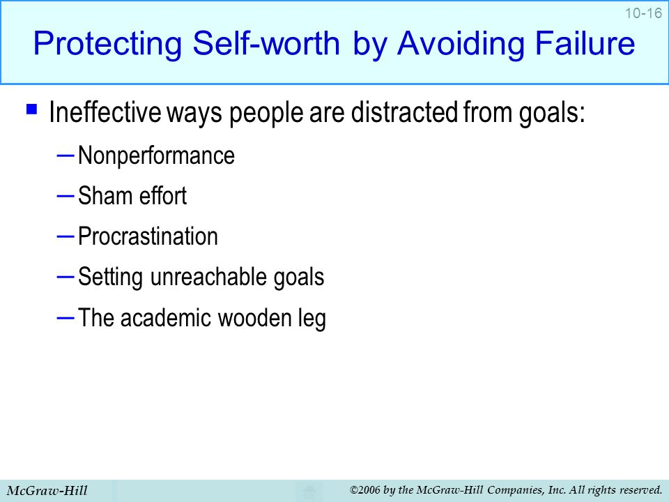 Protecting Self-worth by Avoiding Failure