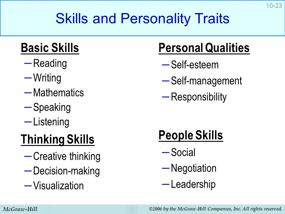 Skills and Personality Traits