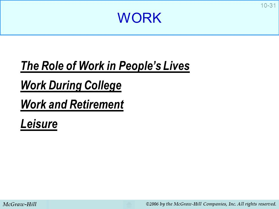 WORK The Role of Work in People's Lives Work During College