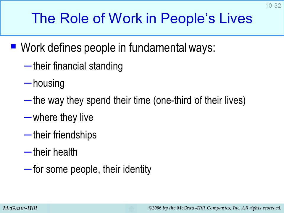 The Role of Work in People's Lives