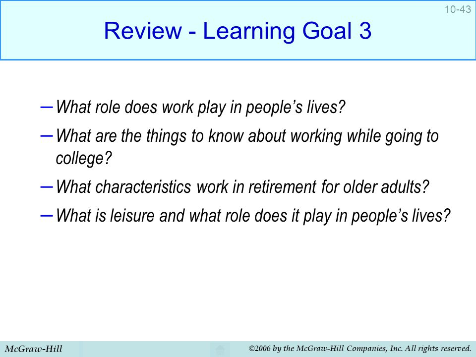Review - Learning Goal 3 What role does work play in people's lives