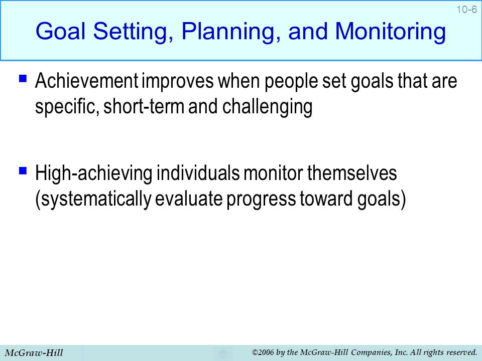 Goal Setting, Planning, and Monitoring