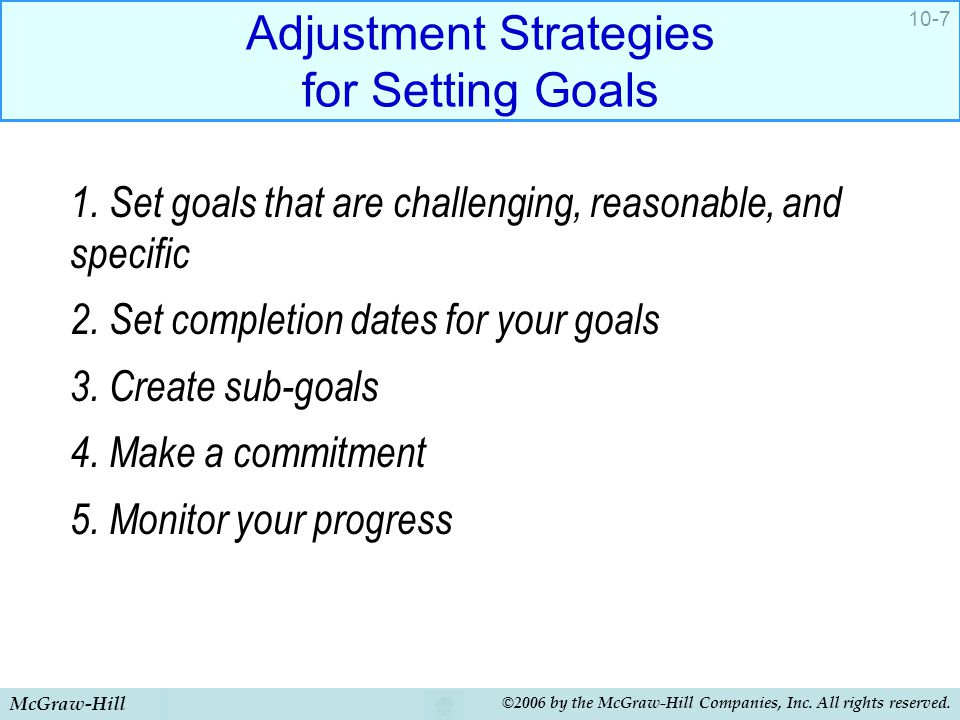 Adjustment Strategies for Setting Goals
