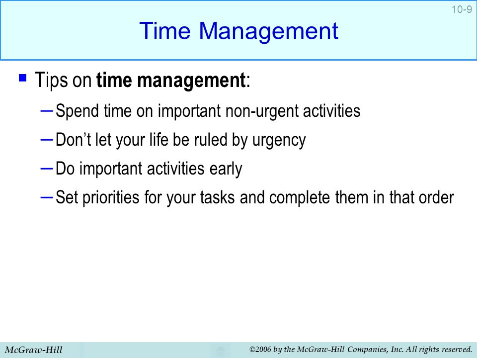 Time Management Tips on time management: