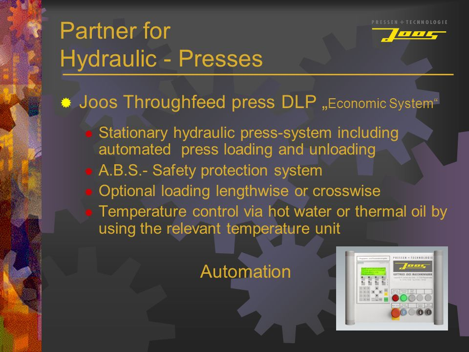Partner for Hydraulic - Presses