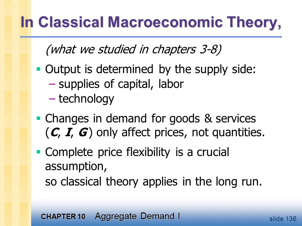 When prices are sticky …output and employment also depend on demand for goods & services, which is affected by.