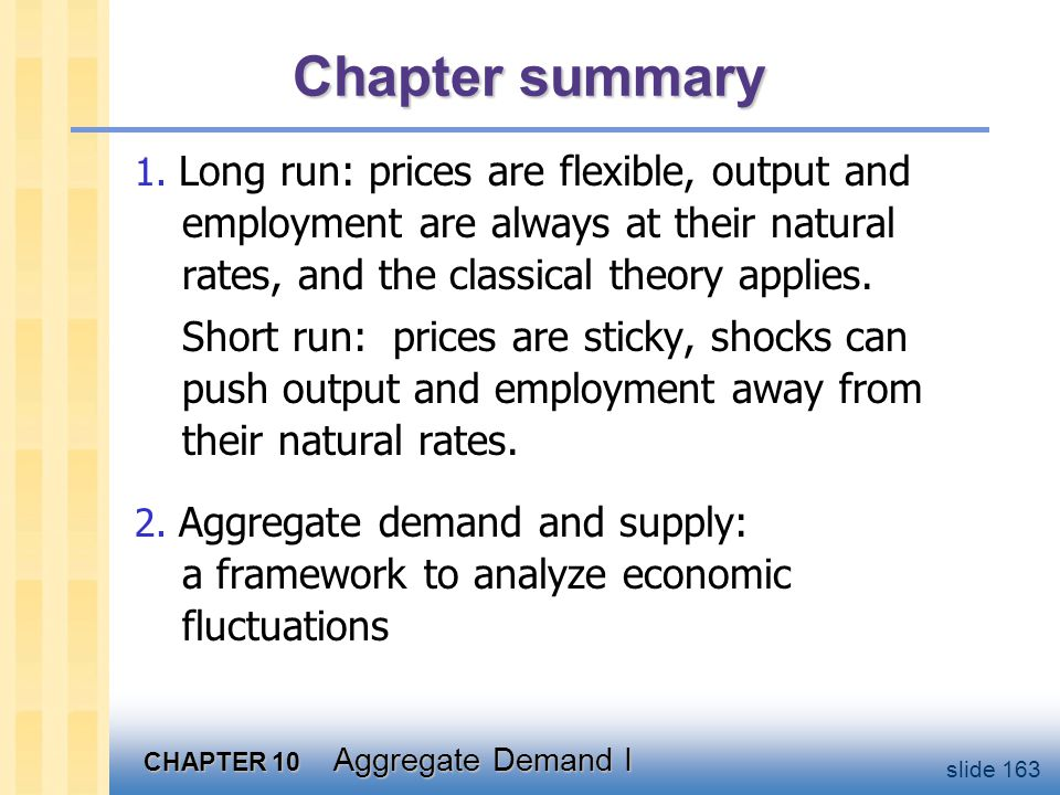 Chapter summary 3. The aggregate demand curve slopes downward.