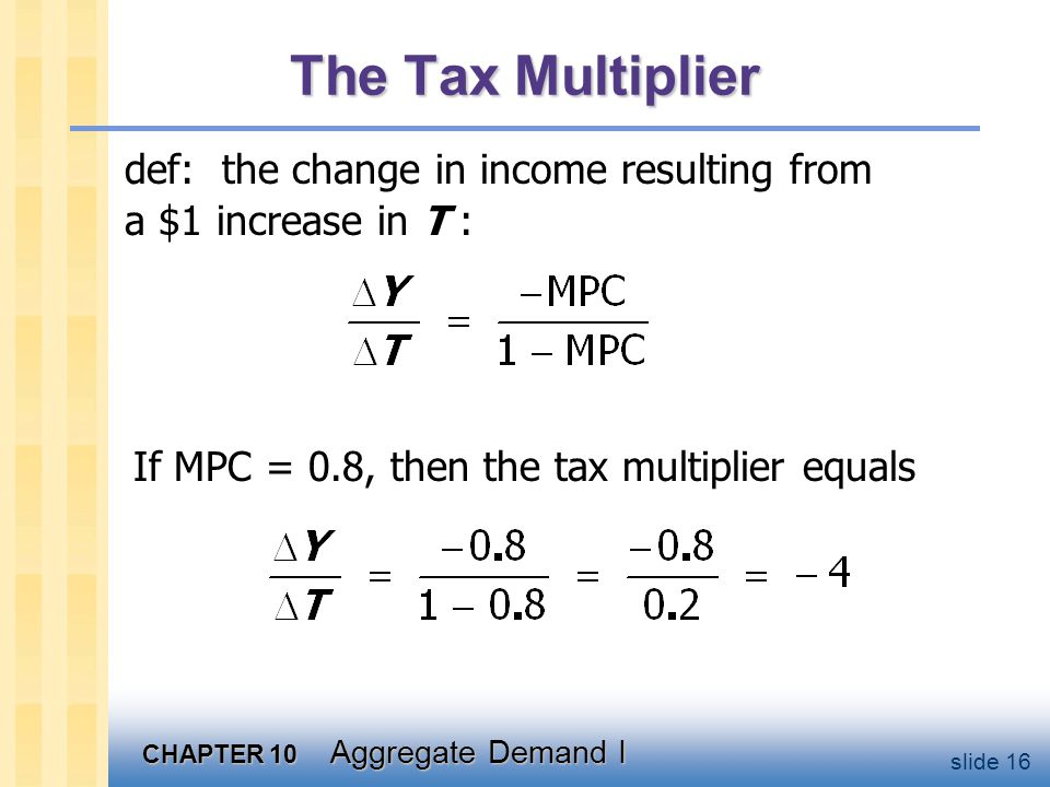 The Tax Multiplier …is negative: A tax hike reduces consumer spending, which reduces income.