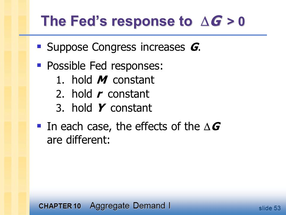 Response 1: hold M constant