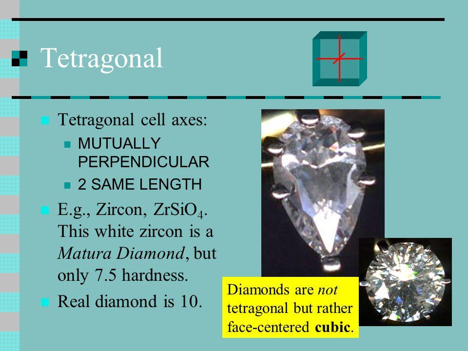 Tetragonal Tetragonal cell axes: