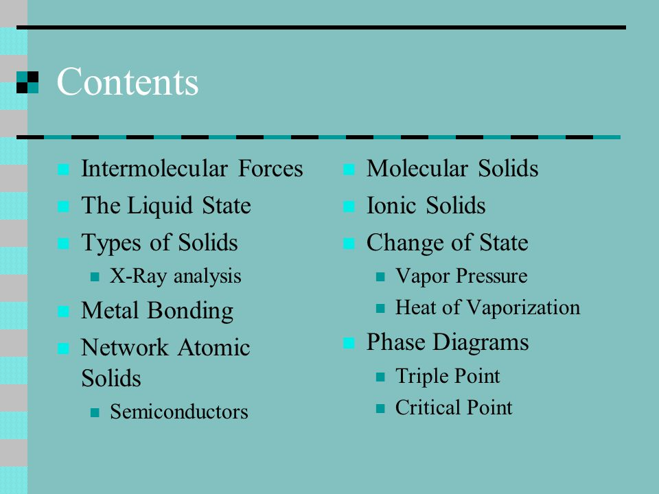 Contents Intermolecular Forces The Liquid State Types of Solids