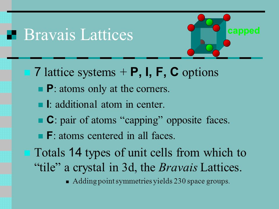 Bravais Lattices 7 lattice systems + P, I, F, C options