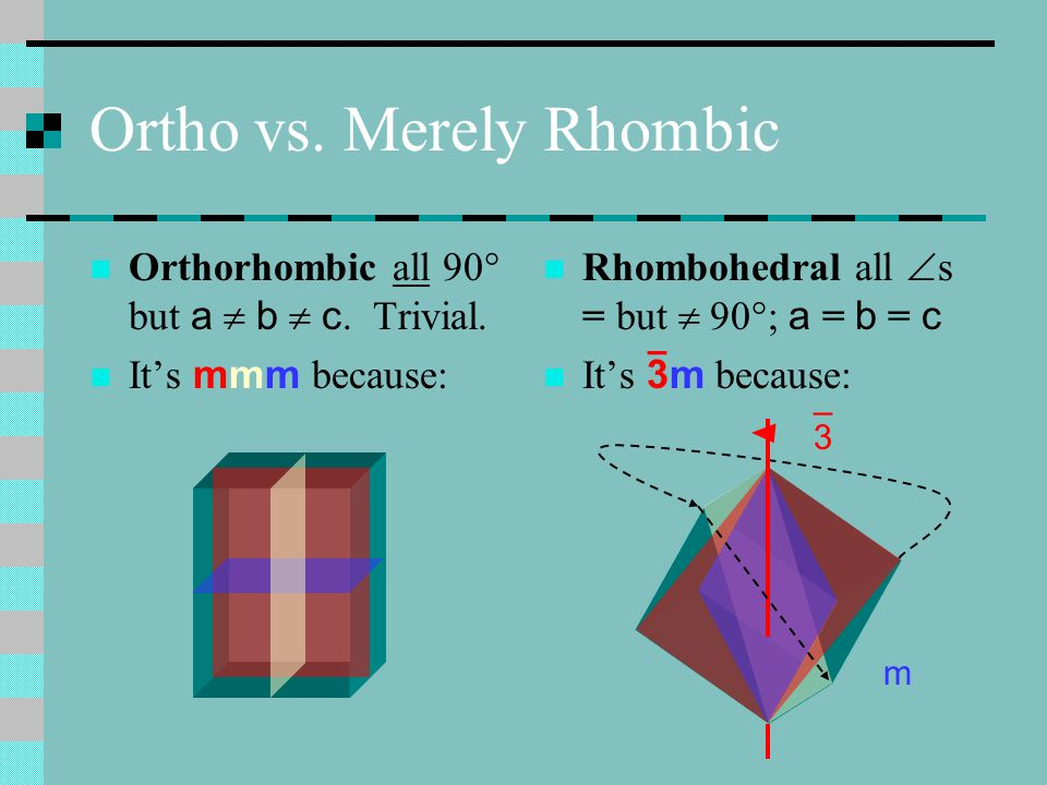 Ortho vs. Merely Rhombic