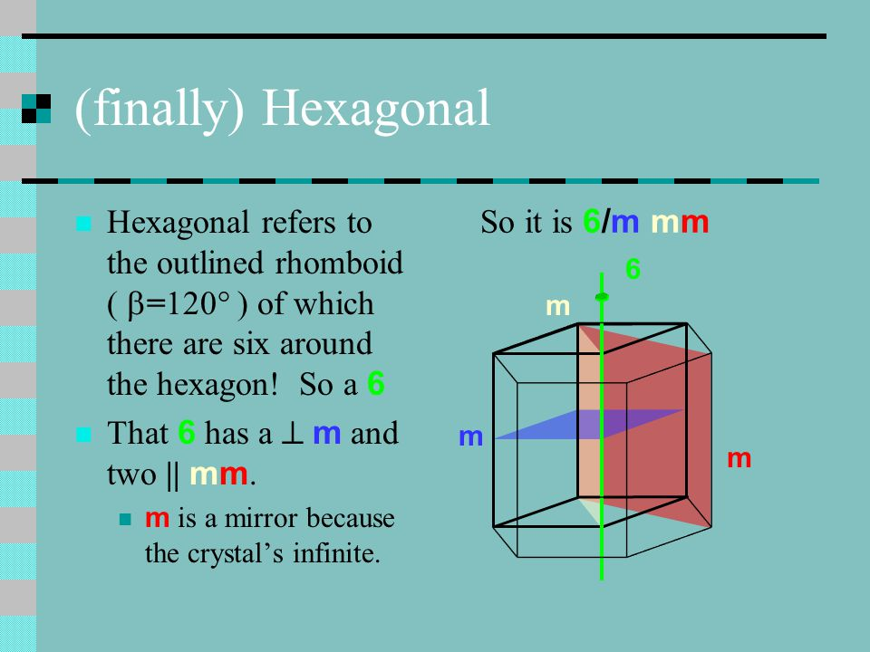 (finally) Hexagonal Hexagonal refers to the outlined rhomboid ( =120° ) of which there are six around the hexagon! So a 6.