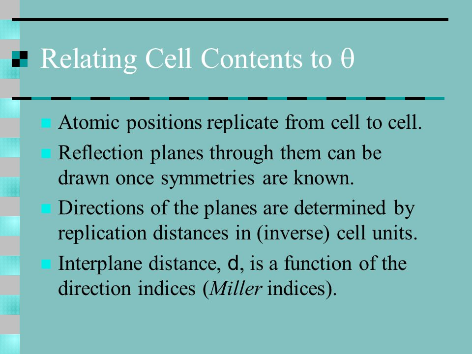 Relating Cell Contents to 