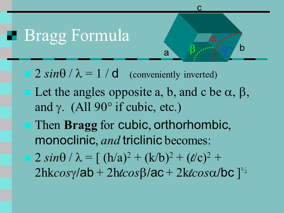 Bragg Formula 2 sin /  = 1 / d (conveniently inverted)