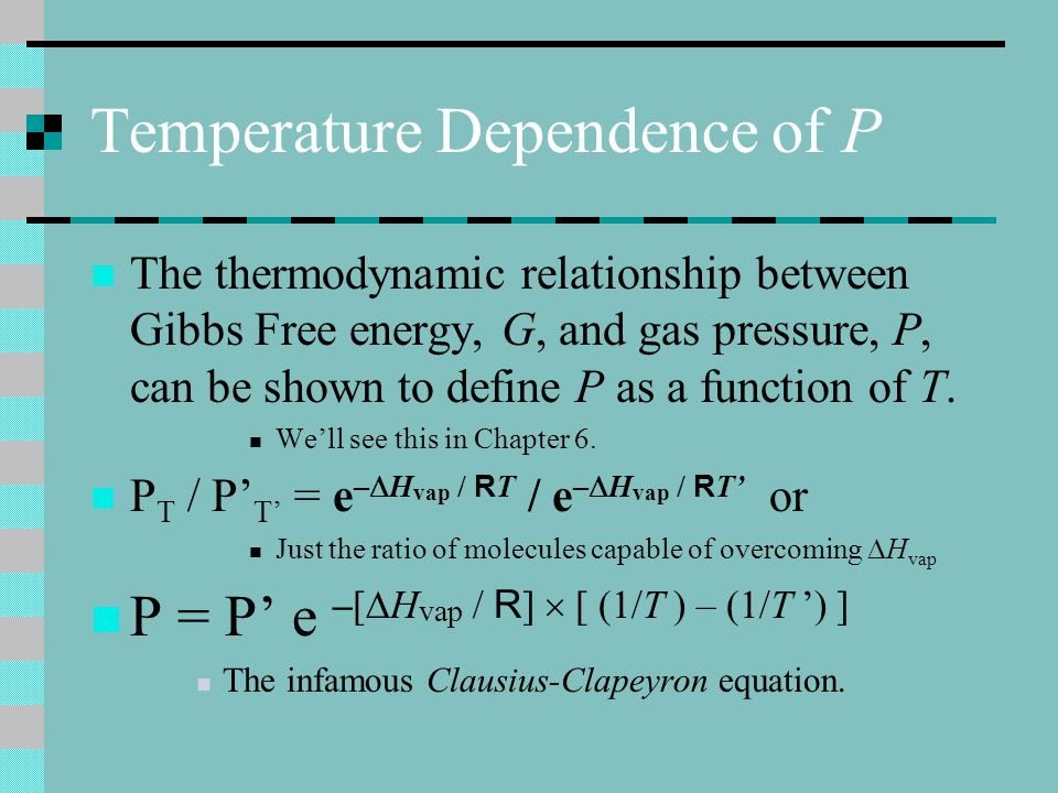 Temperature Dependence of P