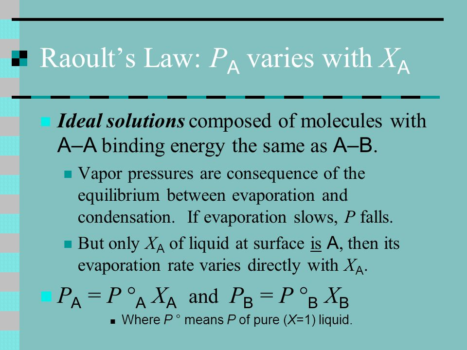 Raoult's Law: PA varies with XA