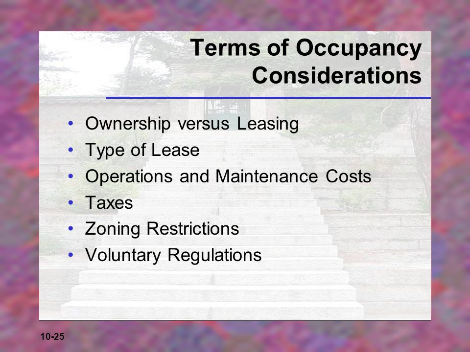 Terms of Occupancy Considerations