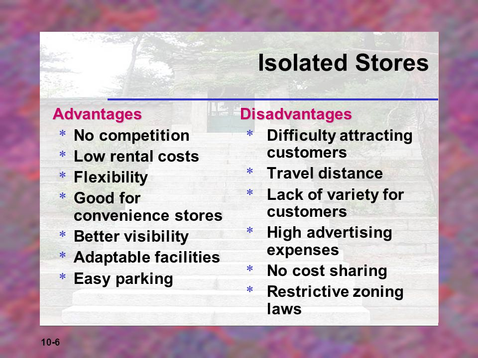 Isolated Stores Advantages No competition Low rental costs Flexibility