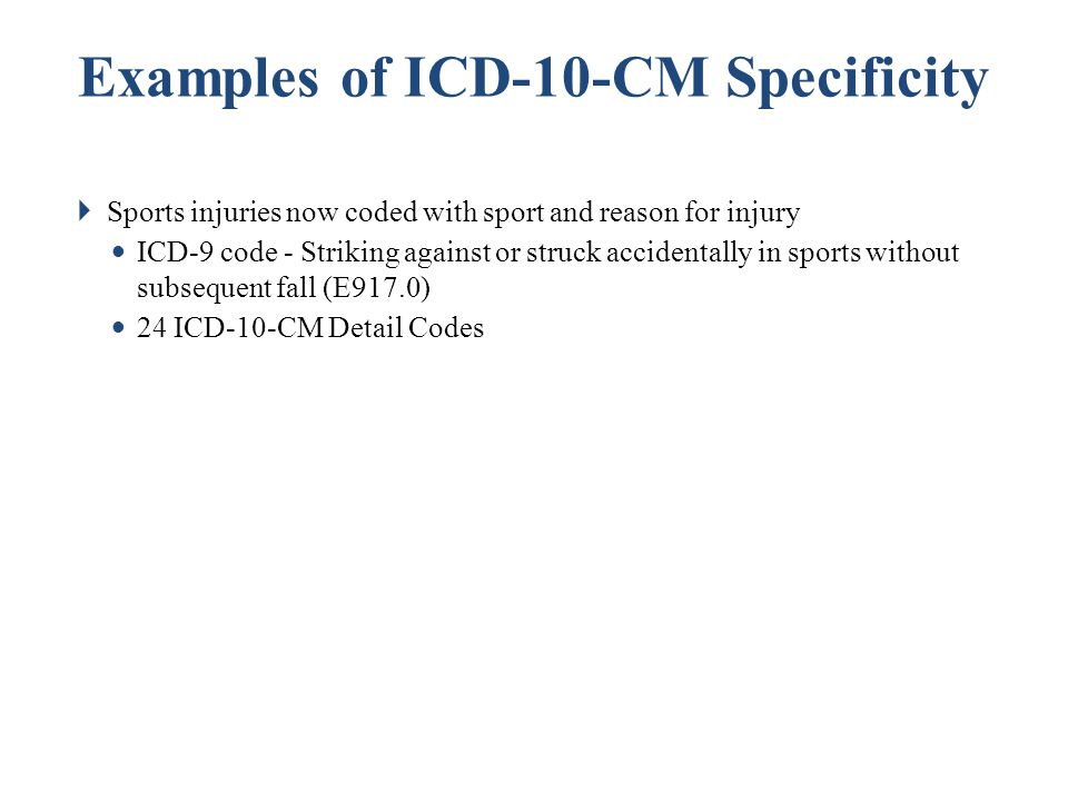 Examples of ICD-10-CM Specificity