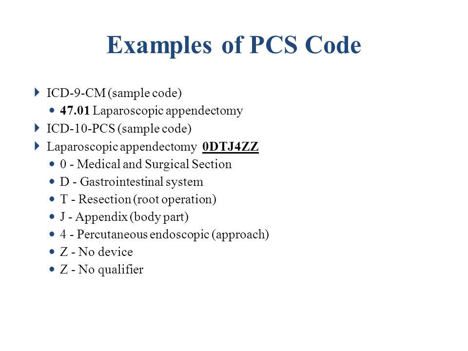 Examples of PCS Code ICD-9-CM (sample code)