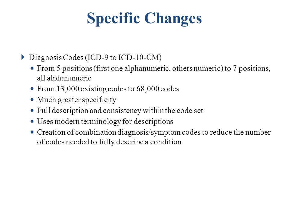 Specific Changes Diagnosis Codes (ICD-9 to ICD-10-CM)