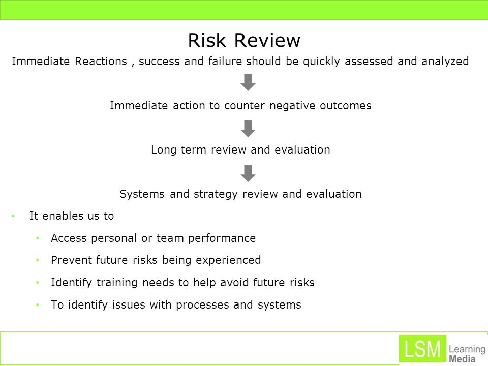 Risk Review Immediate Reactions , success and failure should be quickly assessed and analyzed. Immediate action to counter negative outcomes.