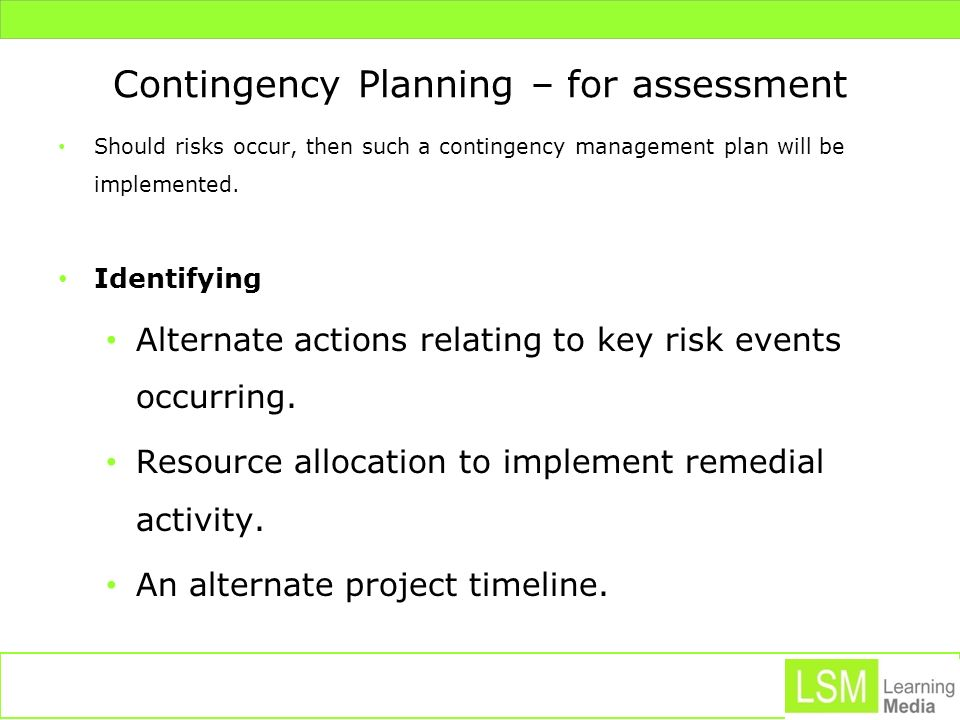 Contingency Planning – for assessment