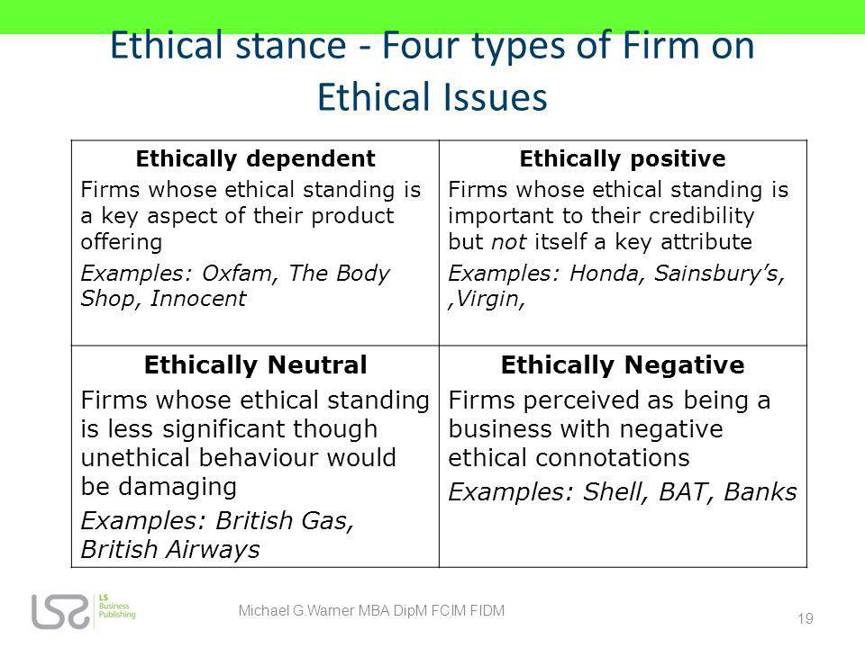 Ethical stance - Four types of Firm on Ethical Issues