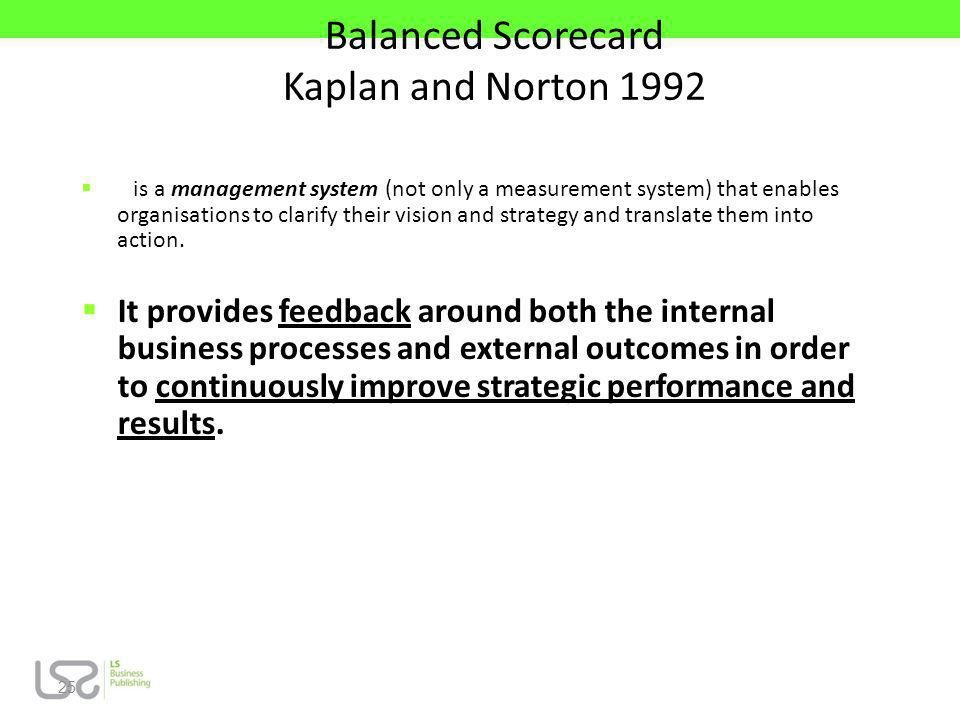 Balanced Scorecard Kaplan and Norton 1992