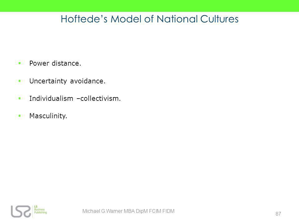 Hoftede's Model of National Cultures