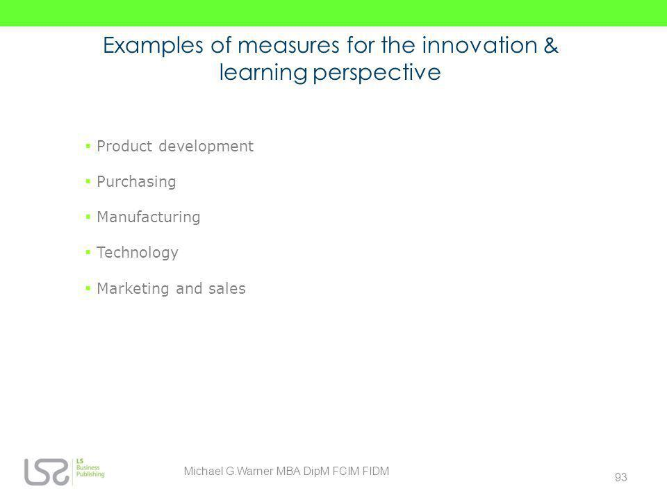 Examples of measures for the innovation & learning perspective