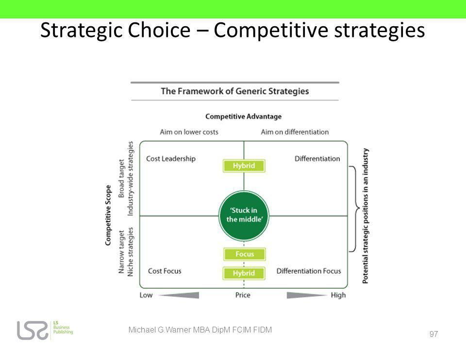 Strategic Choice – Competitive strategies
