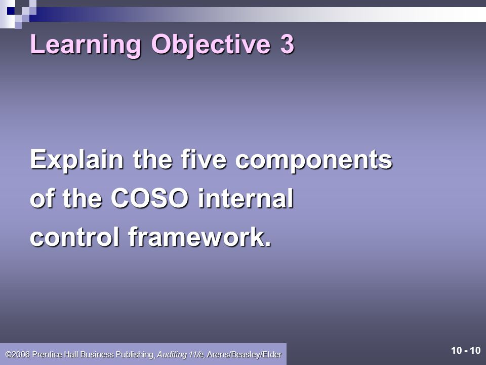 Learning Objective 3 Explain the five components of the COSO internal control framework.