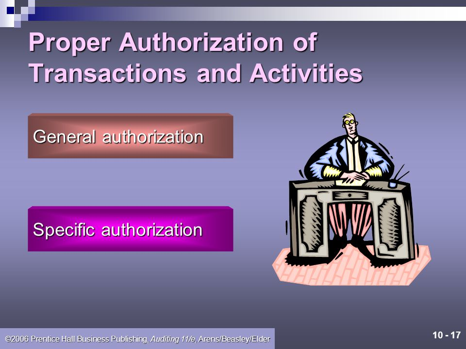Proper Authorization of Transactions and Activities