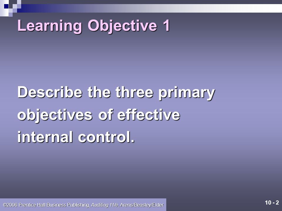 Learning Objective 1 Describe the three primary objectives of effective internal control.