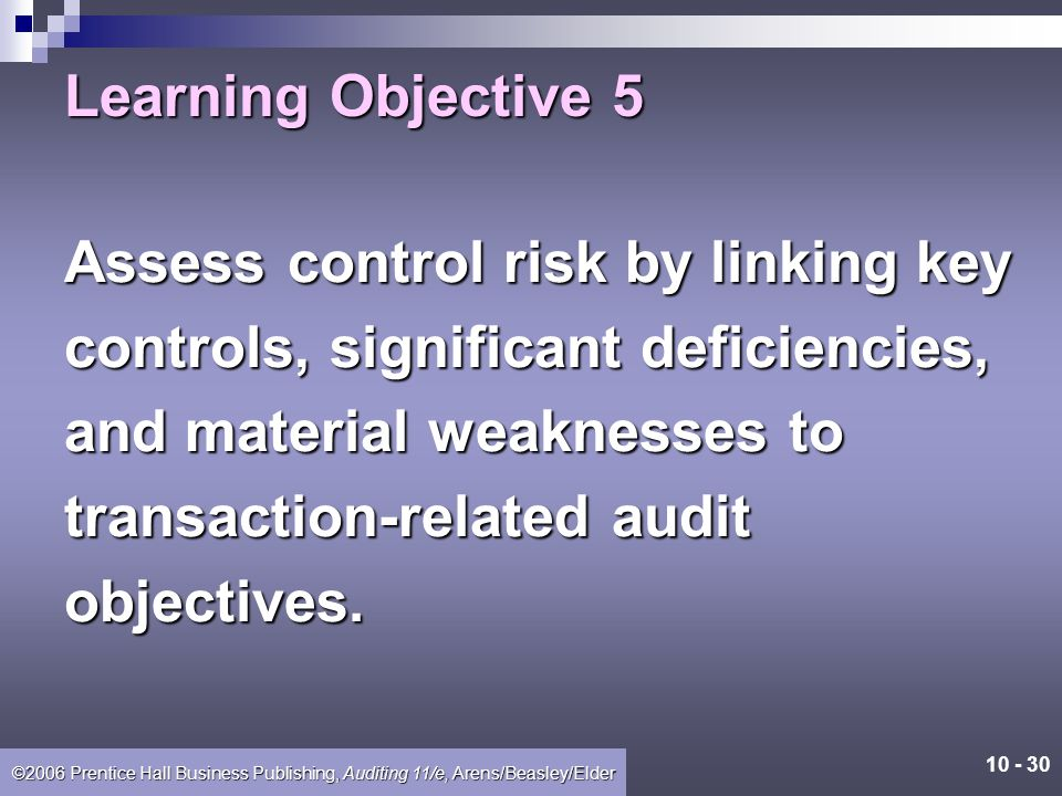 Learning Objective 5 Assess control risk by linking key. controls, significant deficiencies, and material weaknesses to.