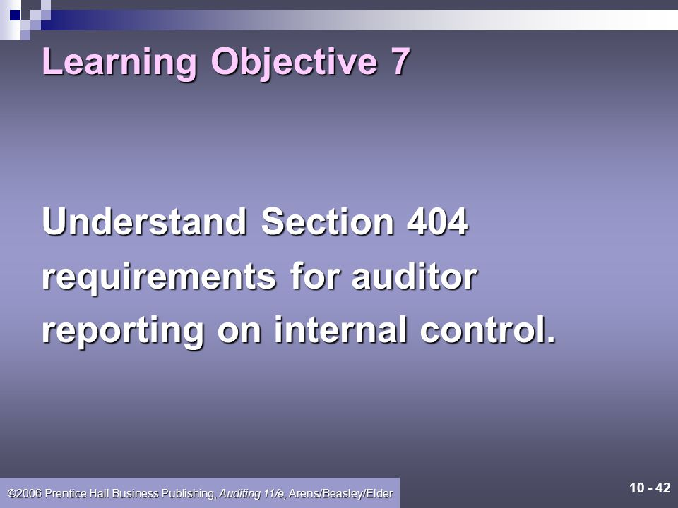 Learning Objective 7 Understand Section 404 requirements for auditor reporting on internal control.