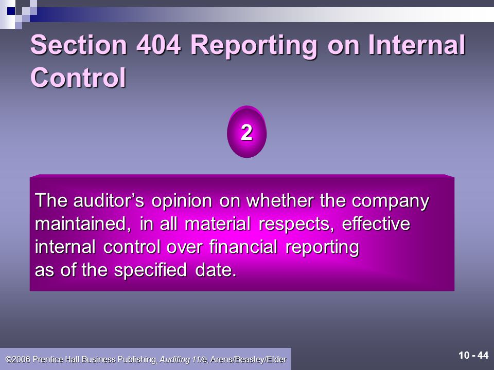 Section 404 Reporting on Internal Control