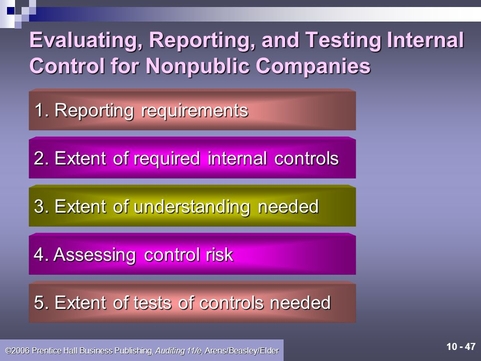 Evaluating, Reporting, and Testing Internal Control for Nonpublic Companies