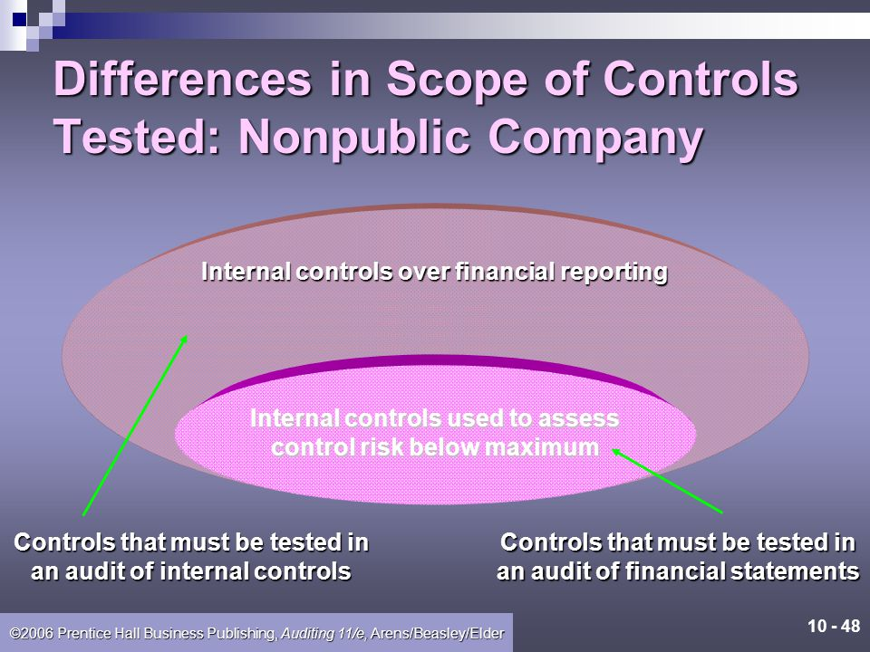 Differences in Scope of Controls Tested: Nonpublic Company