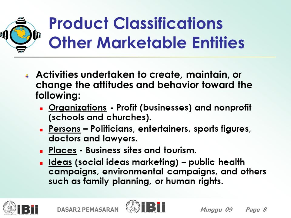 Product Classifications Other Marketable Entities